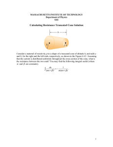 Calculating Resistance Truncated Cone Solution