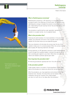 "Radiofrequency Lesioning "" Low back pain is the most common type"