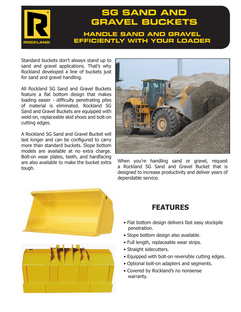 SG SAND AND GRAVEL BUCKETS