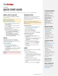 Student Quick Start Guide (Class Key)