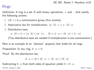EE 387, Notes 7, Handout #10 Definition: A ring is a set R with