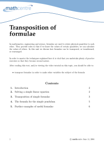 Transposition of formulae