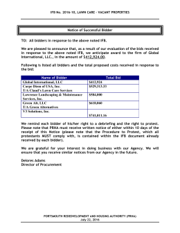 Notice of Successful Bidder TO - Portsmouth Redevelopment and
