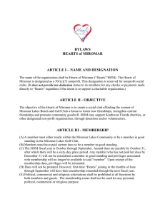 BYLAWS HEARTS of MIROMAR ARTICLE I – NAME AND