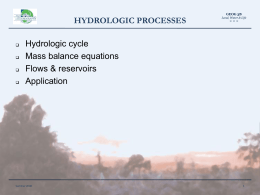 Hydrologic cycle Mass balance equations Flows