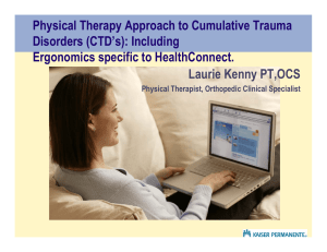 Physical Therapy Approach to Cumulative Trauma Disorders (CTD`s