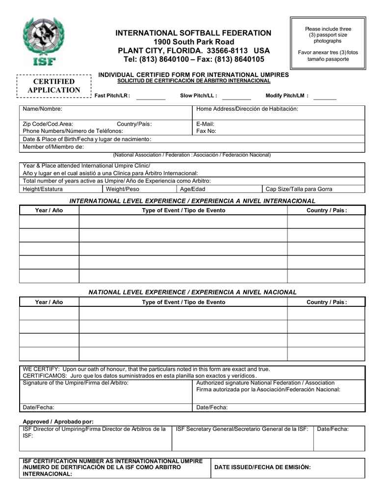 ISF Application Form