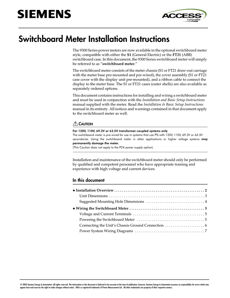 Switchboard Meter Installation Instructions Wiring Diagram For Pt S 018334602 1 78f2640e6a980d8e99bce3459c70ff28
