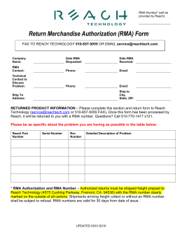 Request for Return Material Authorization (RMA) Number