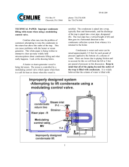 Improper condensate lifting with steam when using a