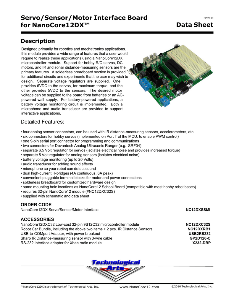 Servo Sensor Motor Interface Board For Nanocore12dx Data Sheet Electronic Circuit Componnent Lesson And Etc Usb Power