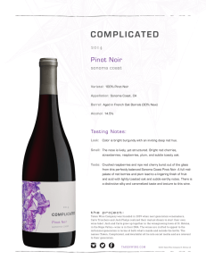 Complicated 2014 Pinot Noir Fact Sheet