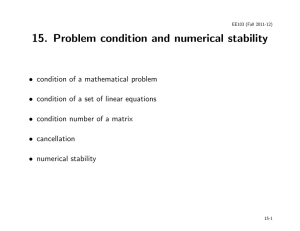15. Problem condition and numerical stability