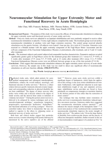 Neuromuscular Stimulation for Upper Extremity Motor and