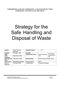 Strategy for the Safe Handling and Disposal of