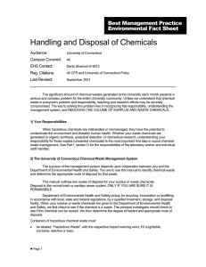 Handling and Disposal of Chemicals - UConn