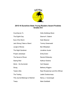 2015-16 Sunshine State Young Readers Award Finalists