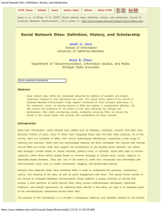 Social Network Sites: Definition, History, and Scholarship