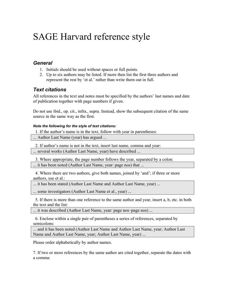 Sage Harvard Reference Style