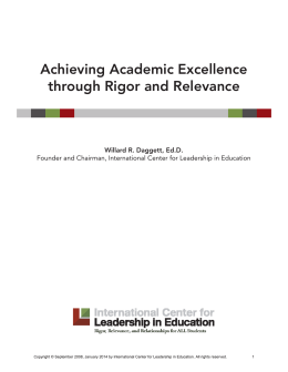 Achieving Academic Excellence through Rigor and Relevance