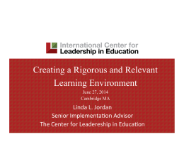 Creating a Rigorous and Relevant Learning Environment