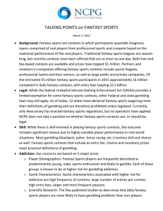 TALKING POINTS on FANTASY SPORTS