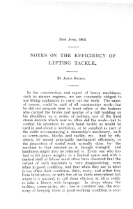 NOTES ON THE EFFICIENCY OF LIFTING TACKLE.