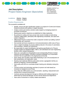 Project Sales Engineer (Specialist)