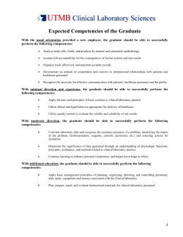 Expected Competencies of the Graduate