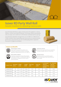 Product Data Sheet - Isover RD Party Wall Roll