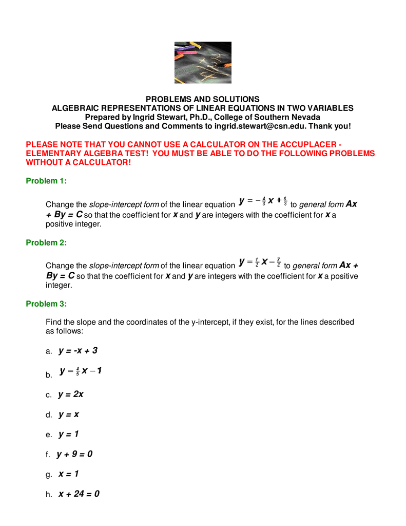 Algebraic Representation Of Linear Equations In Two Variables
