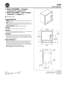 "Model 2484-000000 — Recessed (recesses 10¼"", projects 11⁄8"