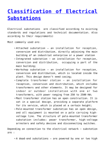Classification of Electrical Substations