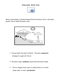 Study guide: Water Cycle Water continuously circulates