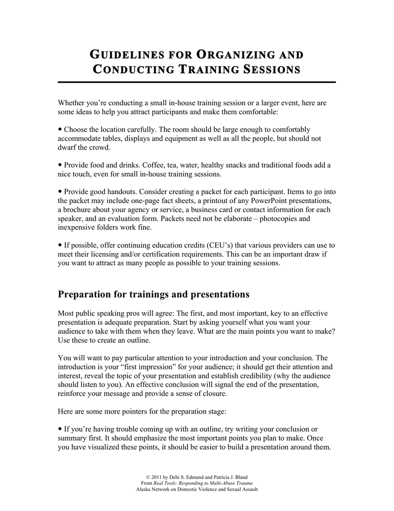 Creating Effective Evaluation Forms   15d Guidelines For Organizing And Conducting Training Sessions