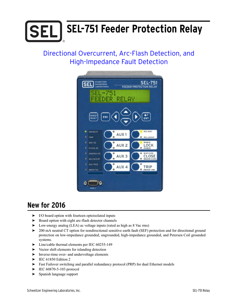 Sel 751 Feeder Protection Relay Data Sheet Simple Phase Failure Diagram