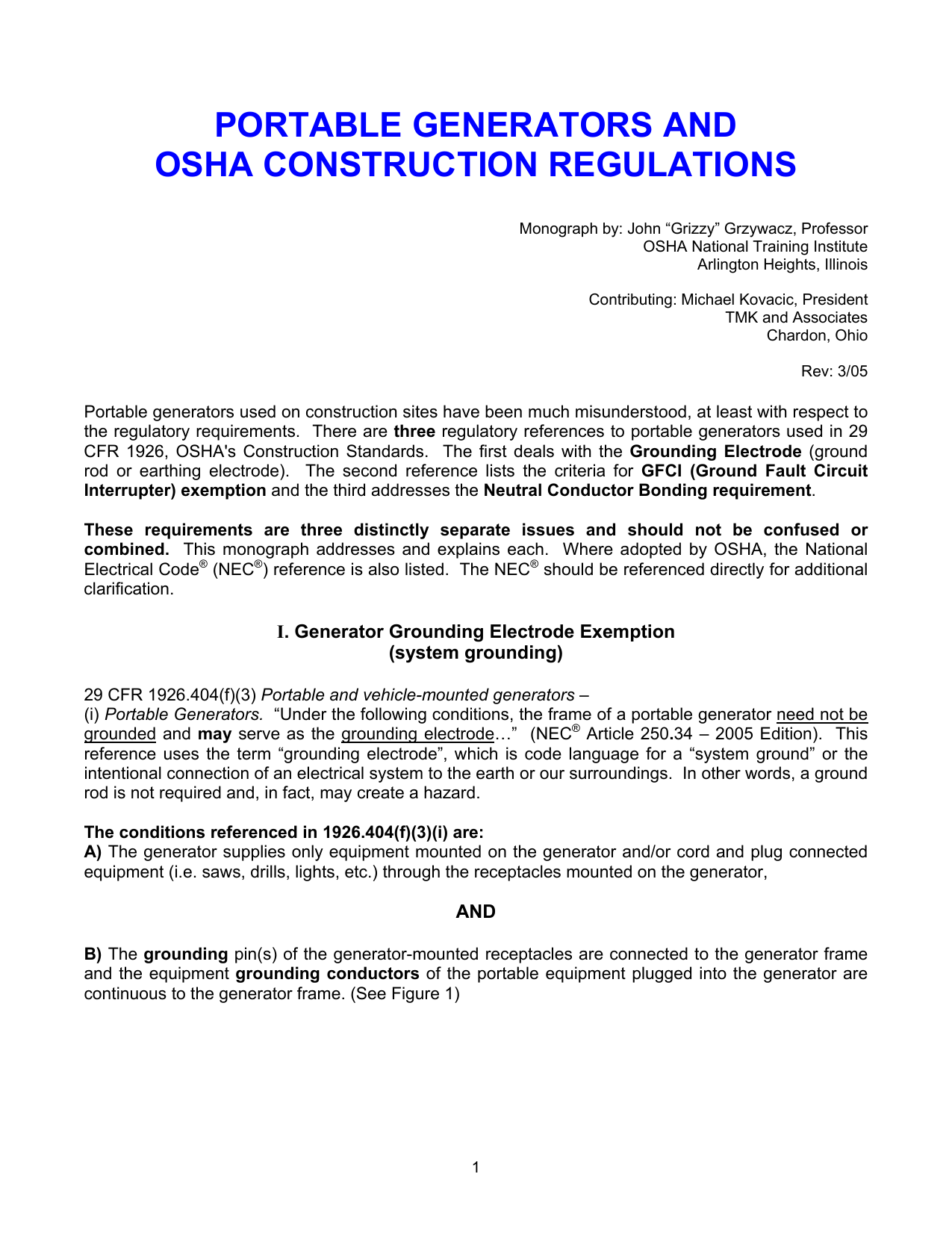 Osha Ground Fault Circuit Interrupters Wiring Library Interrupter Pluggfciground Interrupterplug Portable Generators And Construction Requirements