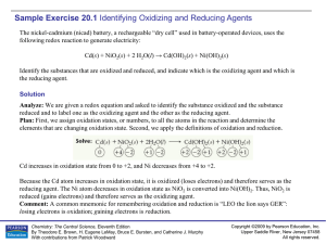 Sample Exercise 20.1 Identifying Oxidizing and Reducing Agents