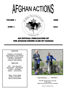 an official publication of the afghan hound club of canada