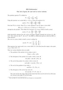 EE2 Mathematics The role of grad, div and curl in vector calculus