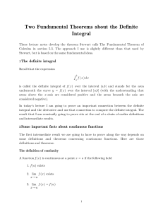 Two Fundamental Theorems about the Definite Integral