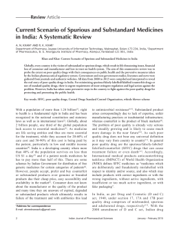 Current Scenario of Spurious and Substandard Medicines in India: A