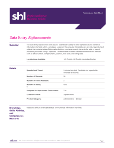 Data Entry Alphanumeric