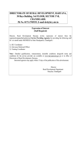 DIRECTORATE OF RURAL DEVELOPMENT, HARYANA, 30 Bays