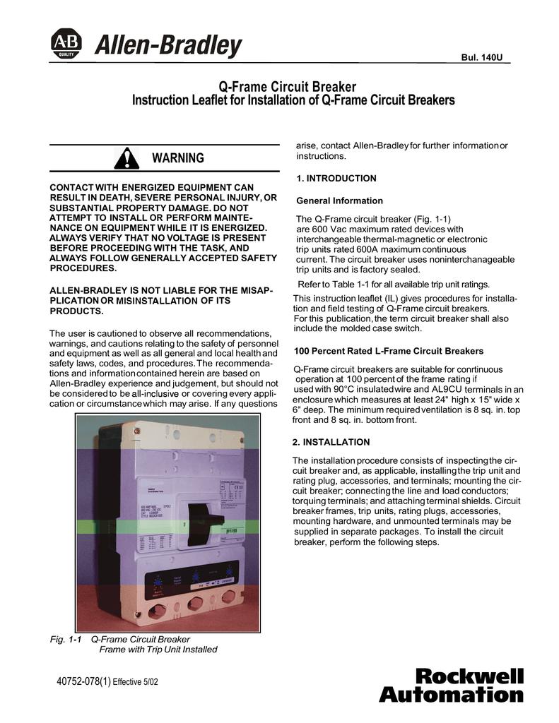 Q-Frame Circuit Breaker Instruction Leaflet for Installation of Q