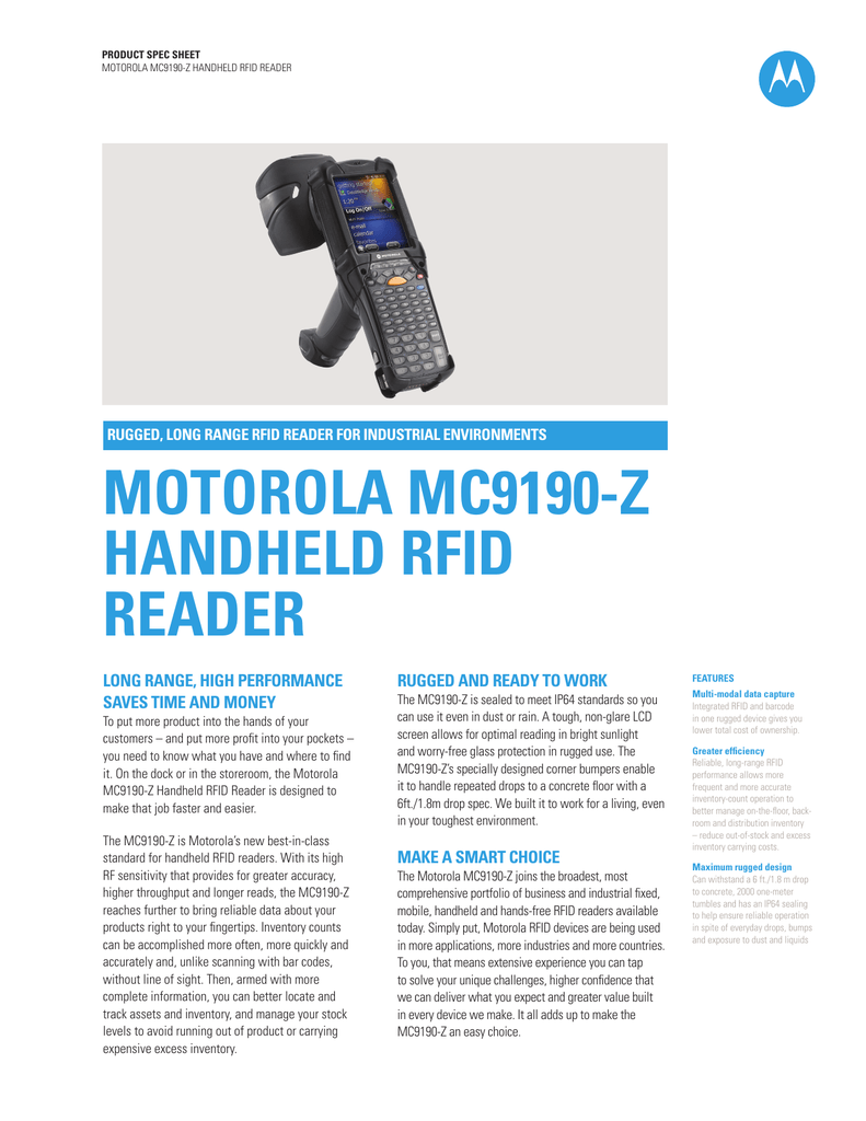 Motorola Mc9190 Z Handheld Rfid Reader Specification