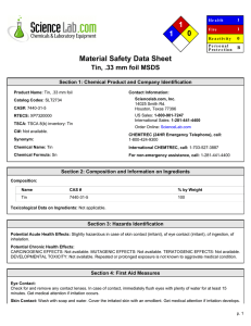 View MSDS for Tin, .33 mm foil