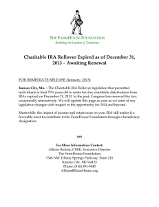 Charitable IRA Rollover Expired as of December 31, 2013