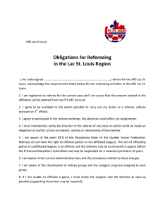 Obligations for referreeing in Lac St-Louis - ARS Lac St