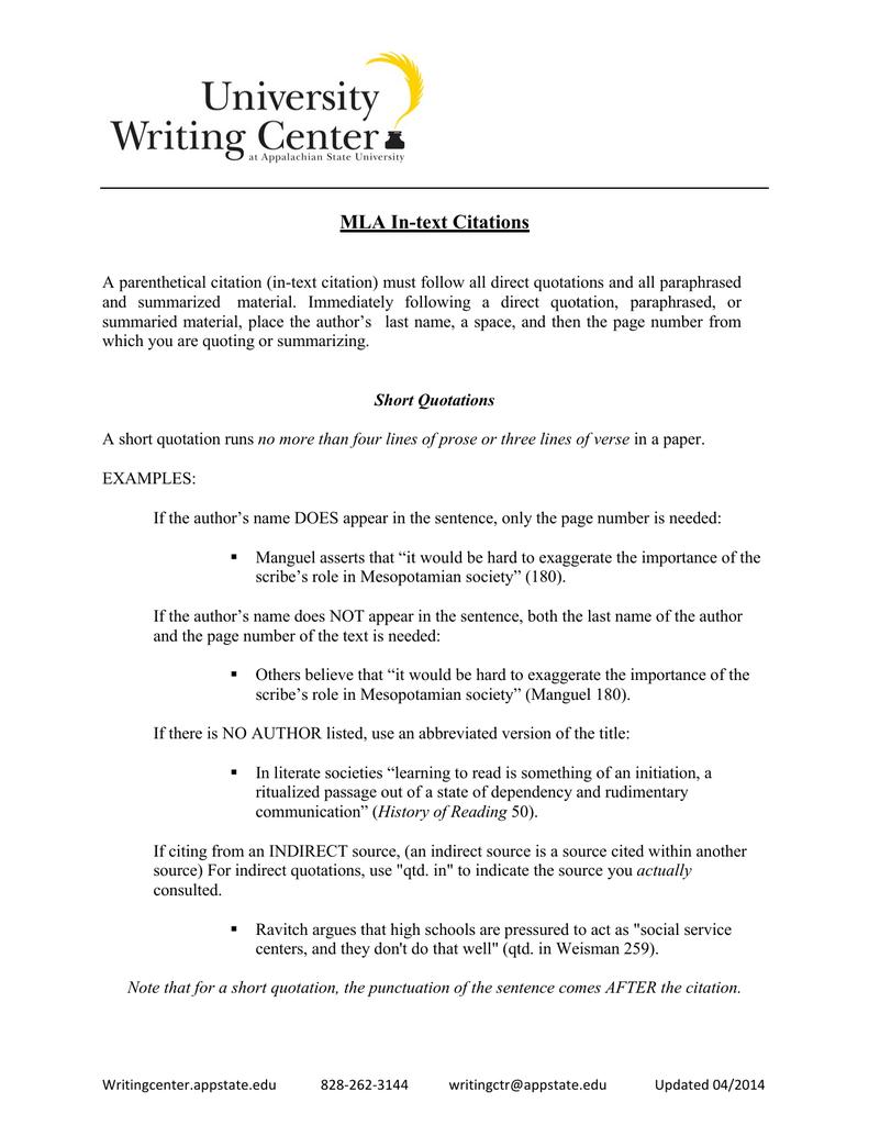 Mla University Writing Center Paraphrasing Prose Passage